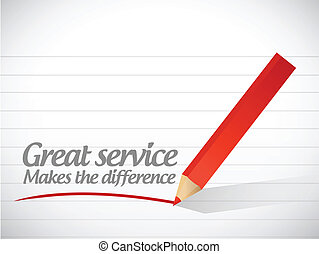 great service makes the difference message illustration...