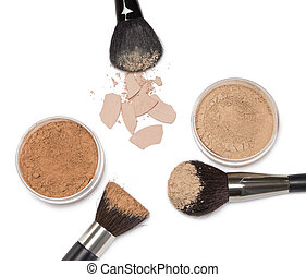 Loose powder and compact powder with makeup brushes - Loose...