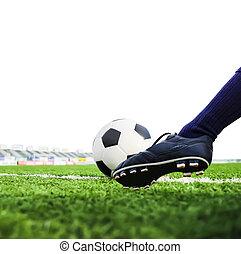 pé, Tiroteio, isolado, futebol
