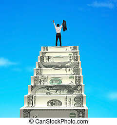 Businessman cheering on top of money stairs with blue sky...