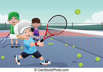 Kids in tennis practice - A vector illustration of kids...