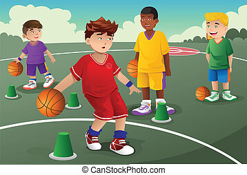 Kids in basketball practice - A vector illustration of kids...