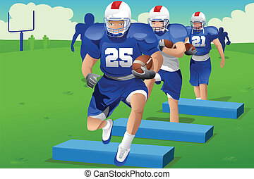 Kids in American football practice - A vector illustration...