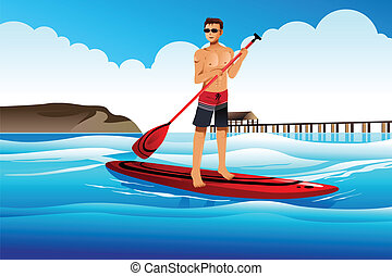 Man paddle boarding in the ocean - A vector illustration of...