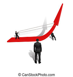Businessmen pulling up red arrow teamwork isolated in white...