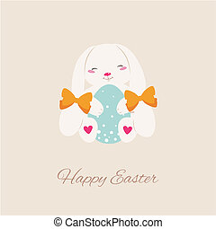 Vector Easter bunny with egg