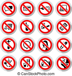 Set Prohibited symbols Office black signs on paper stickers,...