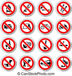 Set Prohibited signs on paper stickers - Set Prohibited...