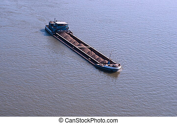 Cargo ship at the Danube, central Europe