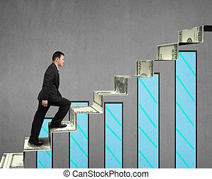 businessman walking on money stairs with chart on concrete...