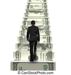 rear view businessman walking on money stairs isolated in...