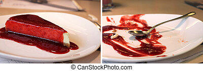 Cheesecake Before and After - Before and after collage -...