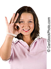 Ok sign teenage - Teenage showing ok sign and smiling...