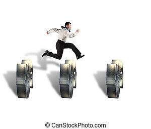 businessman jumping over money symbol obstacles isolated in...