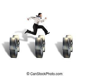 hombre de negocios, Saltar, encima, dinero, símbolo,...