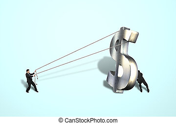 Hombres de negocios, posición, grande, matel, dinero,...