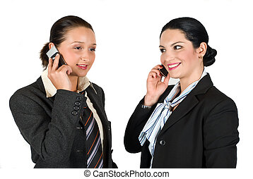 Business woman speaking at cell phone