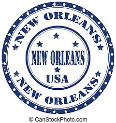 New Orleans-stamp - Grunge rubber stamp with text New...