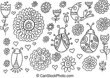 Été, Printemps, griffonnage, fleurs, vecteur