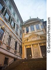 Genoa Genova, Liguria, Italy, historic church and palace at...