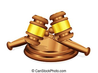 A Double Decision - Two judges gavel mallet lying crossed...