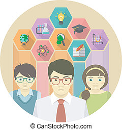 Man Teacher and Pupils - Conceptual flat illustration of a...