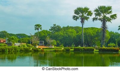 Park in Sukhothai, Thailand - View to statue Pho Khun Ram...