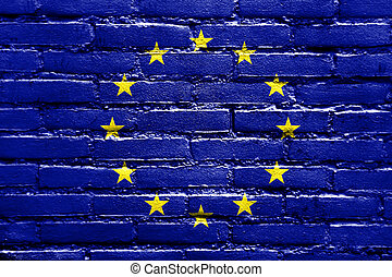 EU Flag painted on brick wall