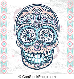 Vintage ethnic hand drawn human skull can be used as a...