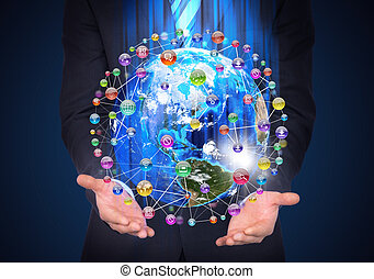 Man in suit holding a earth in hand Application icons around...
