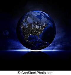 Earth planet on a reflective surface