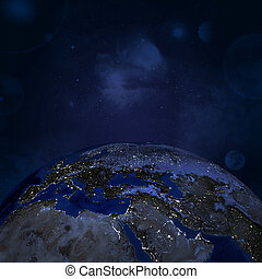 Night surface of the planet earth. Elements of this image...