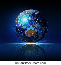 Earth planet on a reflective surface. Elements of this image...