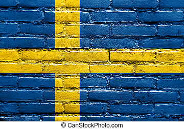 Sweden Flag painted on brick wall