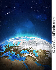 Earth planet in sun rays. Elements of this image are...