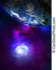 Earth planet and the spiral galaxy. Elements of this image...