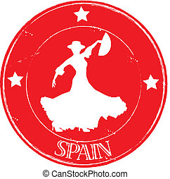 Stamp Flamenco Spain - Stamp Spain red