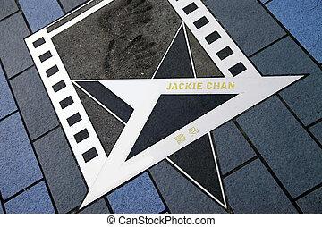 Jackie Chan star at the Avenue of Stars - HONG KONG, CHINA -...