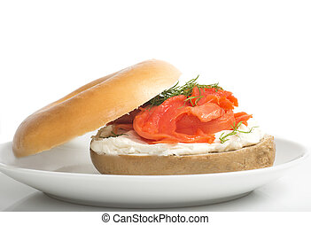 Plain bagel with cream cheese, salmon and dill - Freshly...