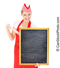 Waitress with a chalk board - A picture of a pretty waitress...