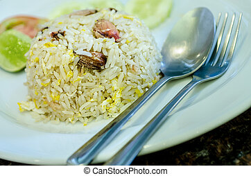 seafood fried rice - Crab fried rice, Thai cuisine.