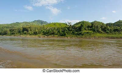 Shore of the Mekong river. View from the boat. Laos - Video...