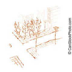 Suburb.  - Suburb - modern vector illustration.