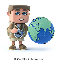 3d Hiker kid with globe