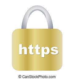 https padlock - Golden https padlock isolated in white...