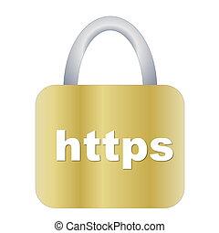 https padlock - Golden https padlock isolated in white...