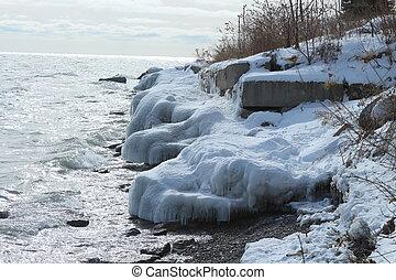 Ice covered rocks on coastline - Ice covered rocks coast