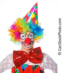 Little clown - Portrait of a cute girl clown. Isolated on...