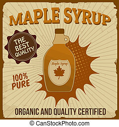 Maple syrup poster in vintage style, vector illustration