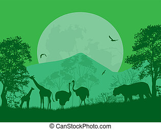 Wild animals in front a full moon on green, vector...